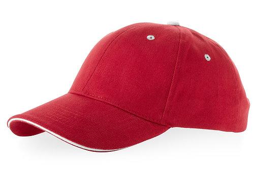 """Бейсболка """"Brent"""" типа «сэндвич», 6 панелей, красный/белый"""