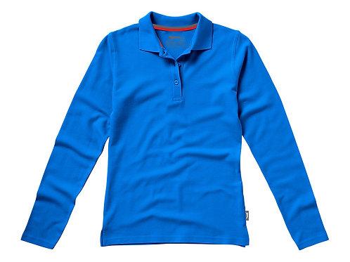 """Рубашка поло """"Point"""" женская с длинным рукавом, небесно-голубой"""