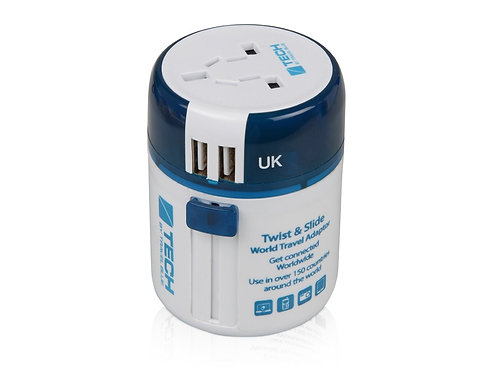 Адаптер с 2-умя USB-портами для зарядки Travel Blue Twist & Slide Adaptor
