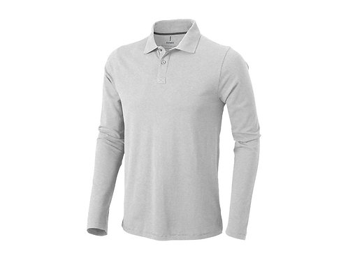 "Рубашка поло ""Oakville"" мужская с длинным рукавом, серый меланж"