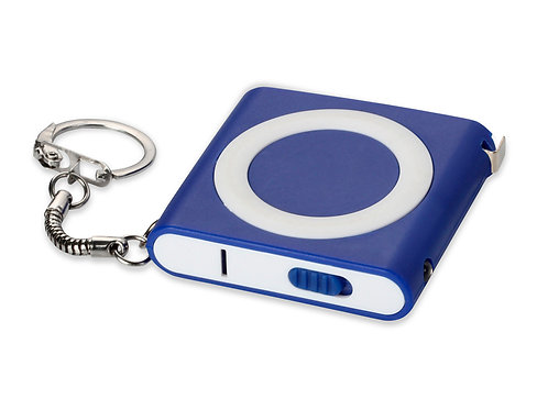 Брелок-рулетка с фонариком. 1 м., синий/белый