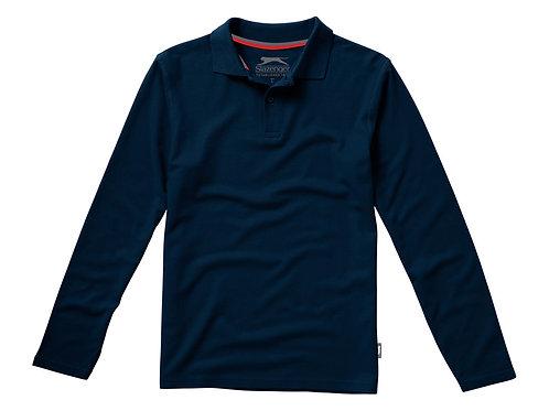 """Рубашка поло """"Point"""" мужская с длинным рукавом, темно-синий"""