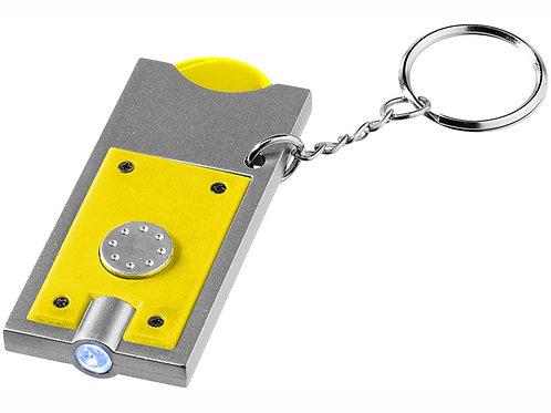 """Брелок-держатель для монет """"Allegro"""" с фонариком, желтый/серебристый"""