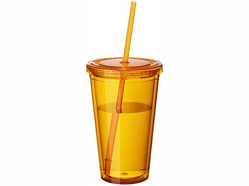 """Стакан с соломинкой """"Cyclone"""", оранжевый"""