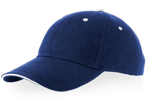 "Бейсболка ""Brent"" типа «сэндвич», 6 панелей, темно-синий/белый"