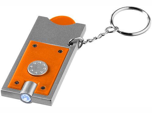 """Брелок-держатель для монет """"Allegro"""" с фонариком, оранжевый/серебристый"""
