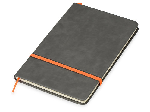 Блокнот «Color» линованный А5 в твердой обложке с резинкой, серый/оранжевый