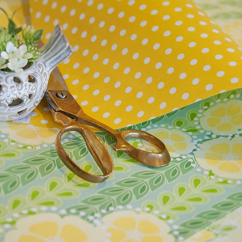Kanzashi Willow & Spots - spring green & yellow - wrapping paper