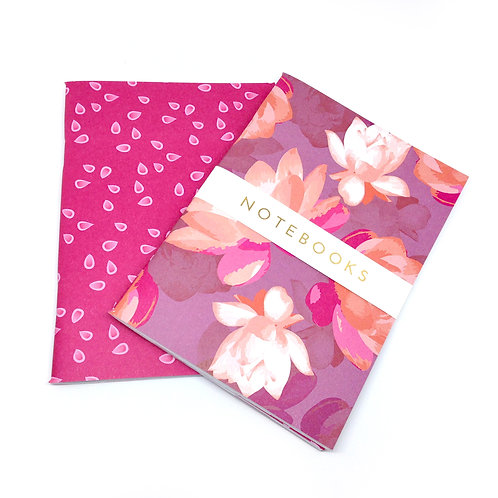 Lotus Blooms - pinks - A6 notebook set