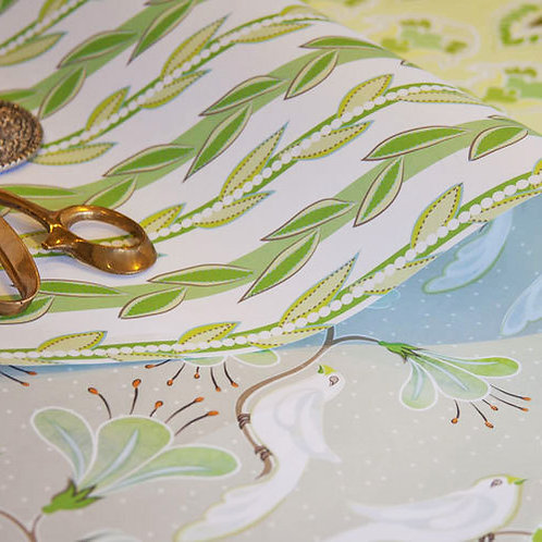 WS: Maharani's Garden & Vines - mink & lime - wrapping papers