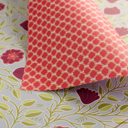 Tudor Rose & Leaded Windows - reds - wrapping paper