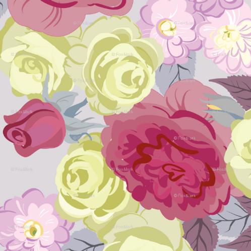 Bold Roses - raspberry & lavender