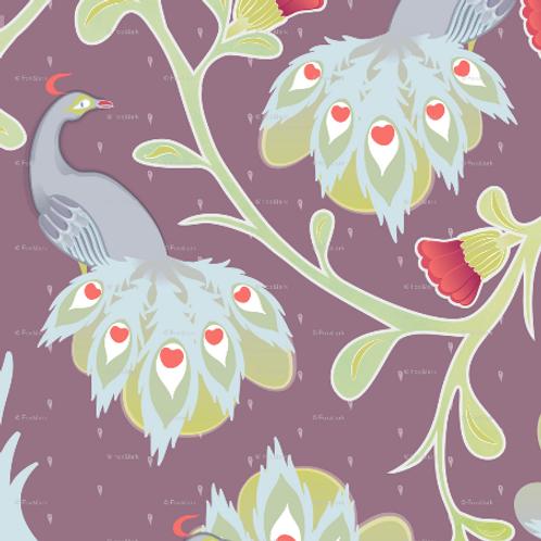 Peacocks - plum & raspberry