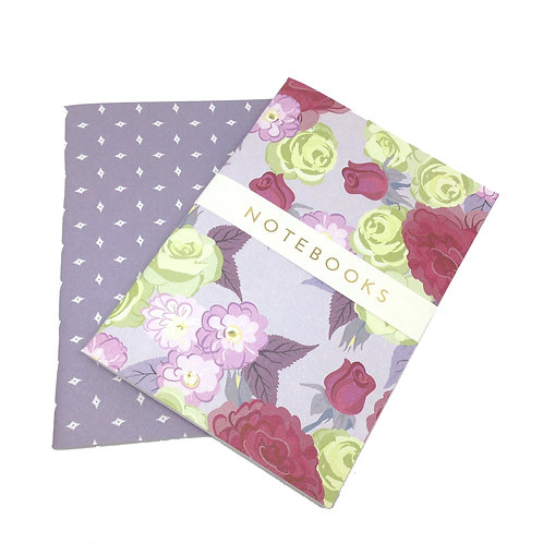 Folly Roses - garnet & plum - A6 notebook set