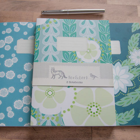 Maiko Blossom - teal blues - A5 notebook set
