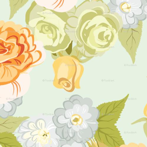 Bold Roses - apricot & mint