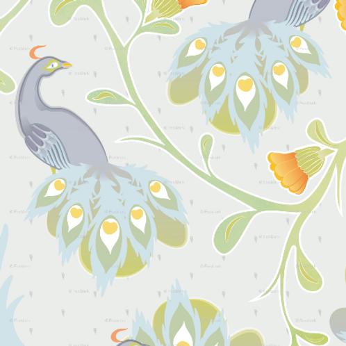 Peacocks - grey & yellow