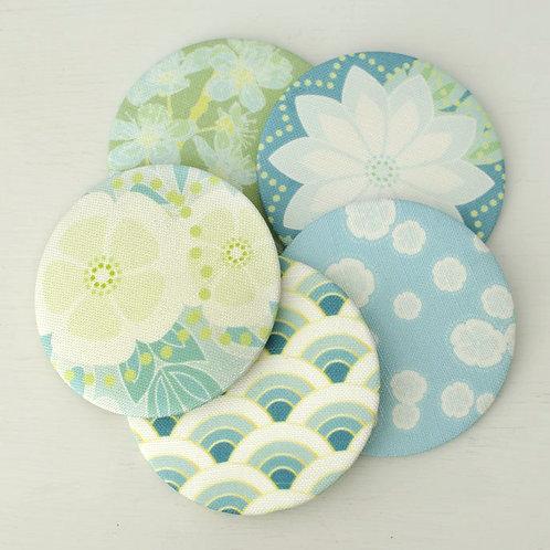 WS: Maiko Blossom mirrors - blues & teals - pocket mirrors