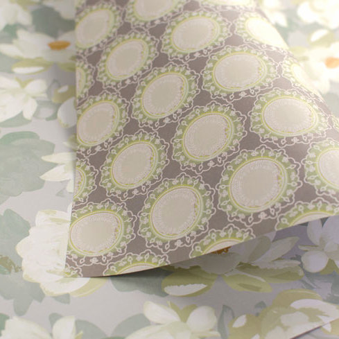 WS: Lotus Blooms & Mandalas - dove, jade & earth - wrapping papers