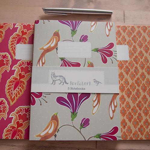 Maharani Birds - pink & orange - A5 notebook set