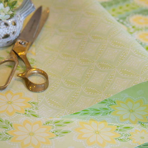 WS: Kanzashi Breeze & Diamonds - chartreuse - wrapping papers