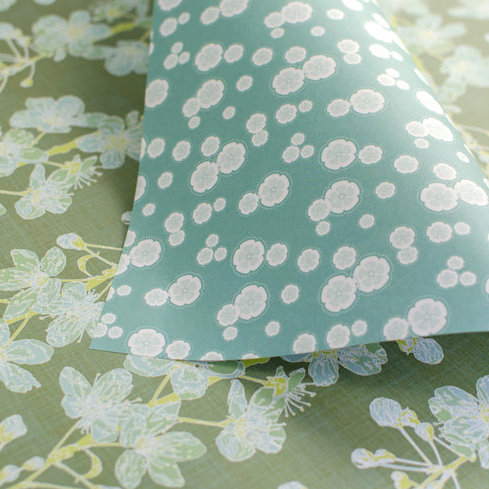 Cherry Blossoms & Blossoms - sage & blue - wrapping paper