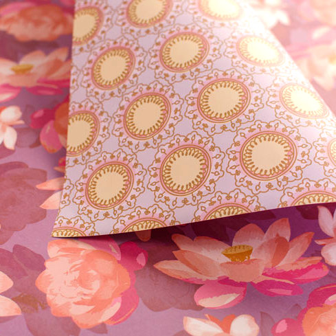 Lotus Blooms & Mandala - pinks & parma violet - wrapping paper