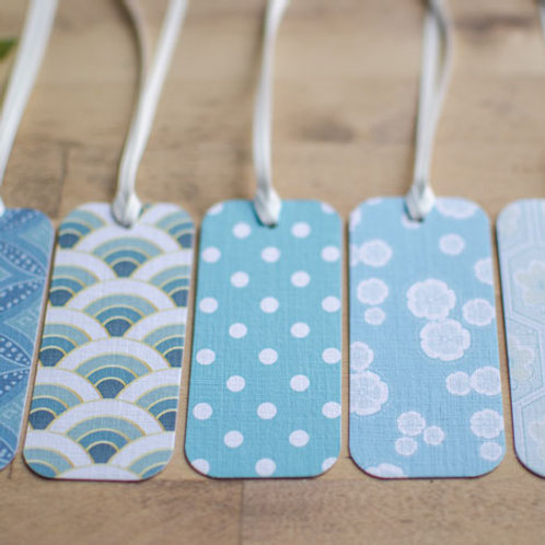 WS: Maiko Blossom gift tags - blues & teals