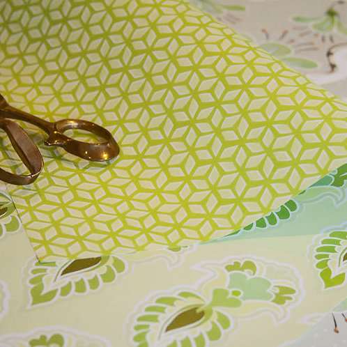Feathers & Lattice - lime & soft greens - wrapping paper