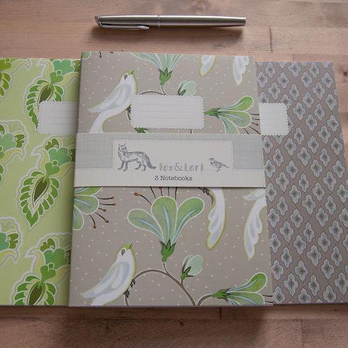 Maharani Birds - mink & lime - A5 notebook set