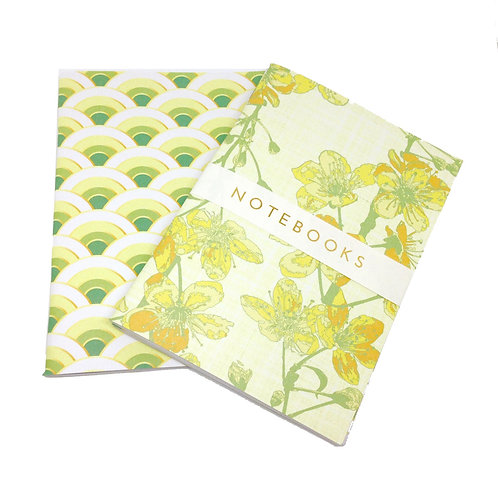 Maiko Blossom - yellows & green - A6 notebook set