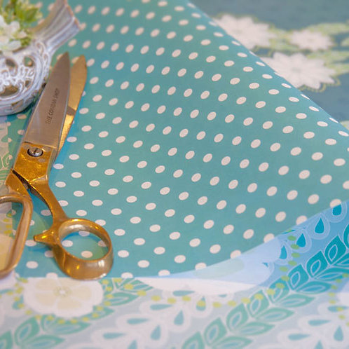 WS: Kanzashi Willow & Spots - teal blues - wrapping papers