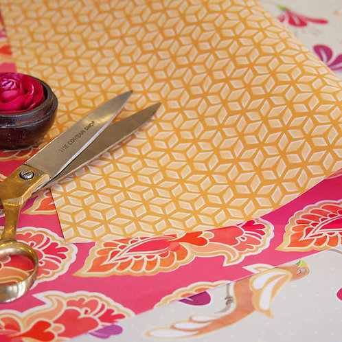 Feathers & Lattice - fruit salad & saffron - wrapping paper