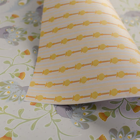 WS: Peacocks & Poppies - grey & yellow - wrapping papers