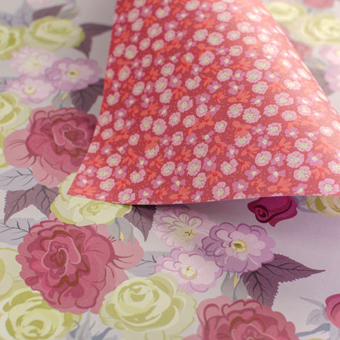 Bold Roses & Garden Ditsy - plums & pinks - wrapping paper