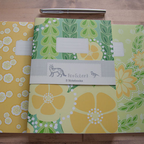 Maiko Blossom - green & yellow - A5 notebook set