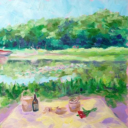 Picnic by the Waterlily Lake Print