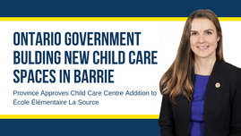 Ontario Government Building New Child Care Spaces in Barrie