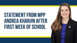 Statement from MPP Andrea Khanjin after First Week of School