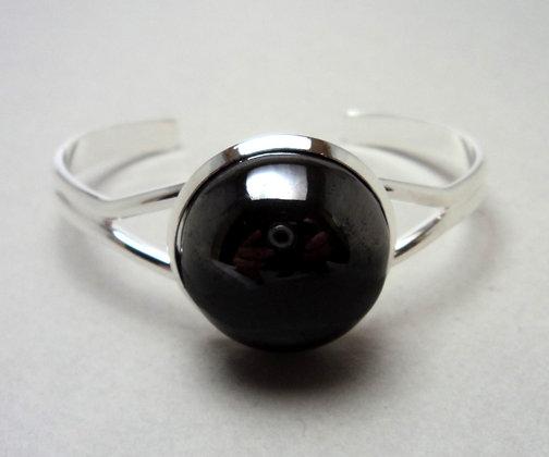 Bracelet jonc demi sphère noir argenté en céramique sur métal argenté