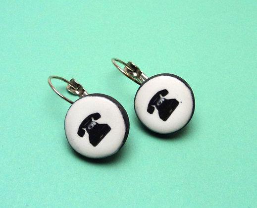 boucles d'oreilles en céramique motif téléphone à cadran vintage noir blanc
