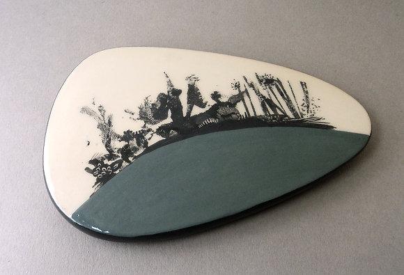 Petits sous-plat ovale graphique bleu pétrole pastel en céramique