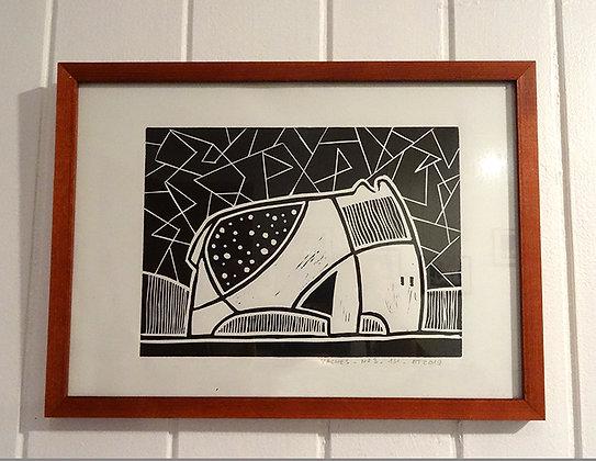 linogravure dessin original animal graphique noir et blanc sous cadre