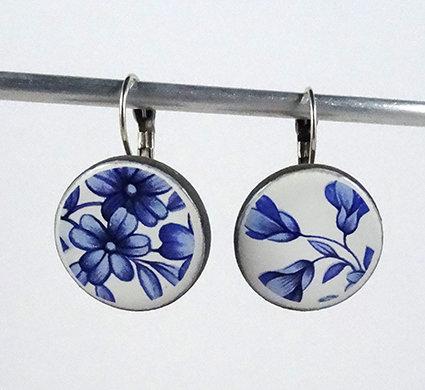 grandes boucles rondes motif floral vintage bleu graphiques