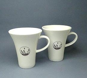 Duo tasses à café graphisme végétaux roseaux en céramique