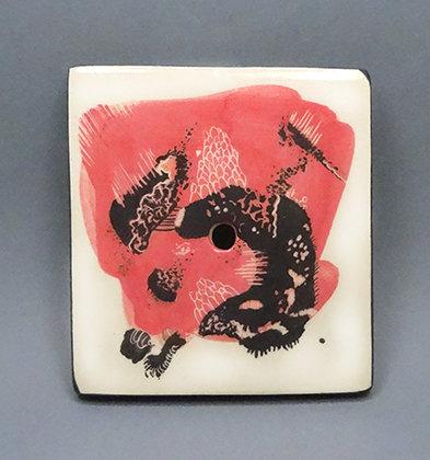 porte savon artisanal design ceramique dessin abstrait rose noir original