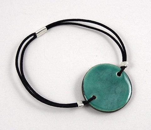 bracelet rond turquoise plat en céramique avec élastique
