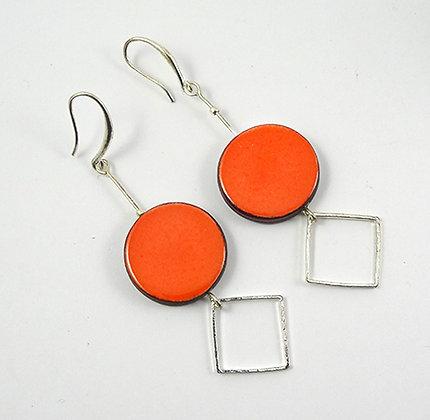 boucles d'oreilles originales longues orange rondes anneaux argent