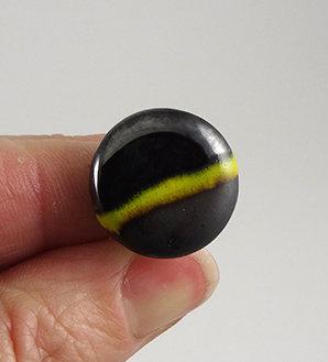 Bague ronde argenté vert noir argenté style bonbon en céramique