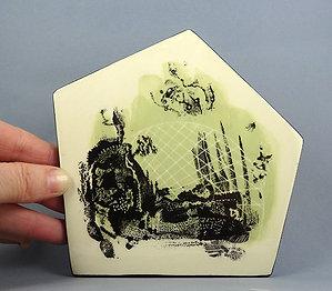 Sous-plat géométrique graphique illustration vert noir blanc en céramique